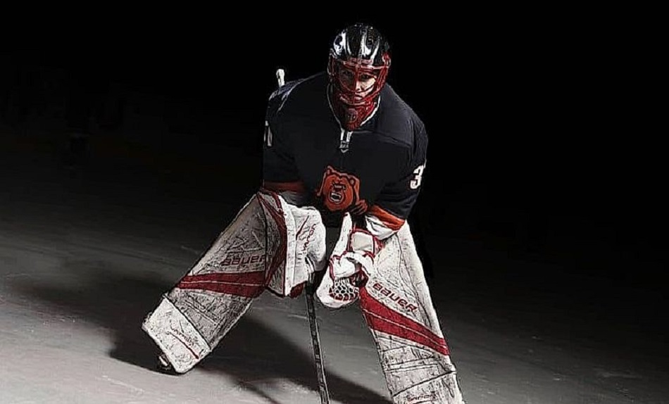 hockey player standing in a darkness